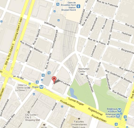 Map Crowne Plaza Brussels